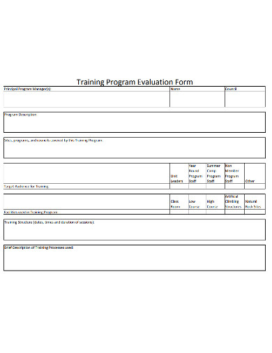 training program evaluation form example