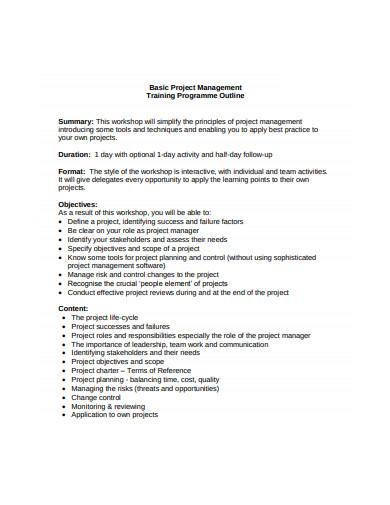 training programme outline