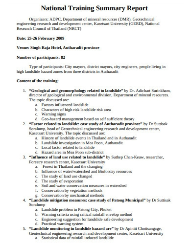 training summary report in pdf