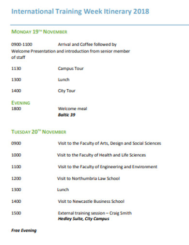 training week itinerary example
