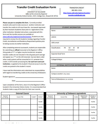 transfer credit evaluation form
