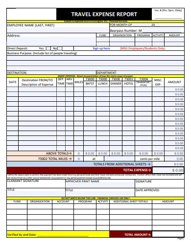 travel expense report form example