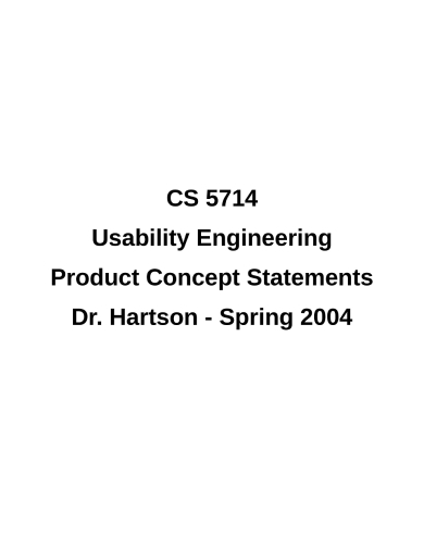 usability engineering product concept statement