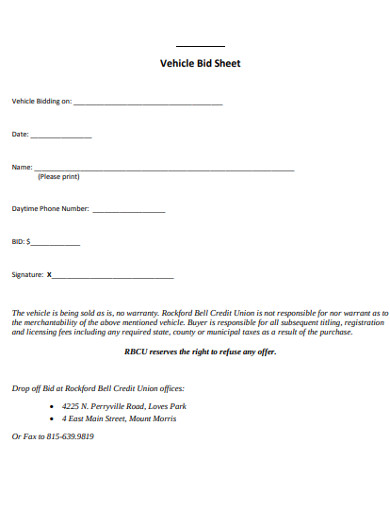 vehicle bid sheet