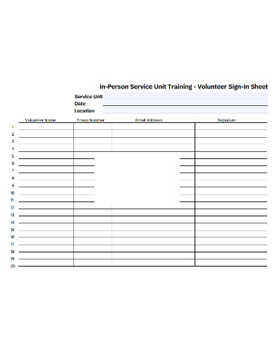 volunteer training sign in sheet example