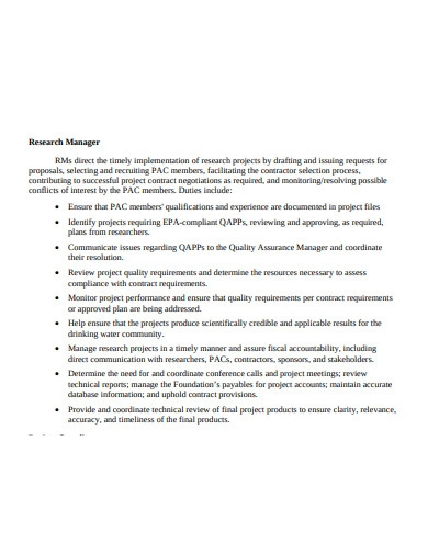 water research quality management plan