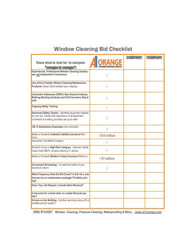 window cleaning bid checklist