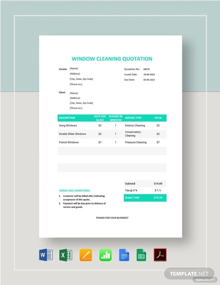 window cleaning quotation template