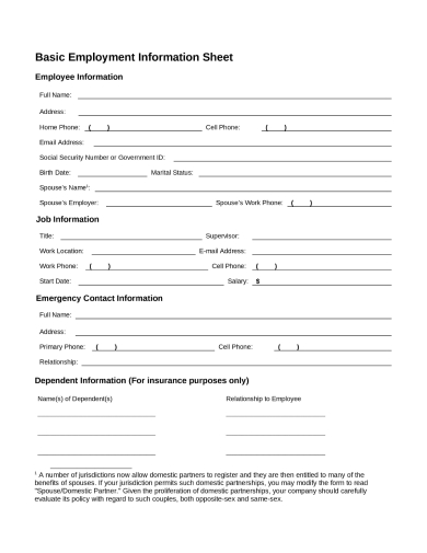 work information sheet