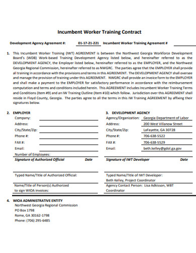 worker training contract example