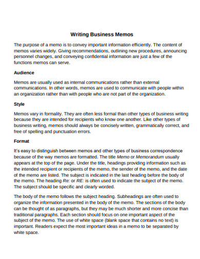 writing business memo in pdf