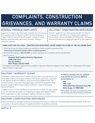warranty construction claim