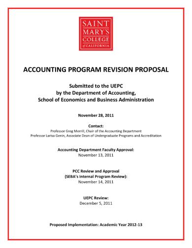 accounting program revision proposal