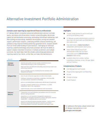 alternative investment portfolio administration