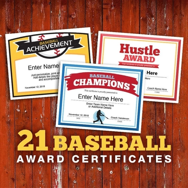 baseball certificates 21 editable team awards