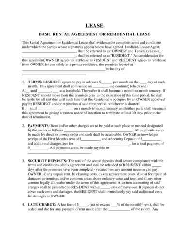 basic house rental agreement