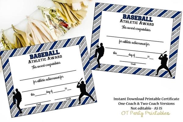 blank baseball certificate award