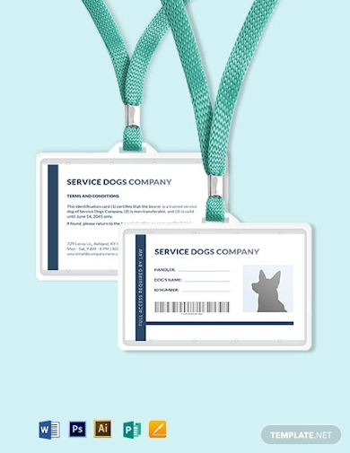 blank service dog or animal id card