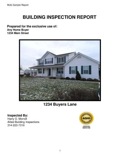 building inspection report for home buyer