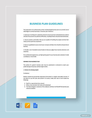 business plan guidelines templates