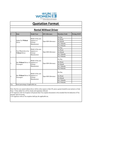 car rental quotation format