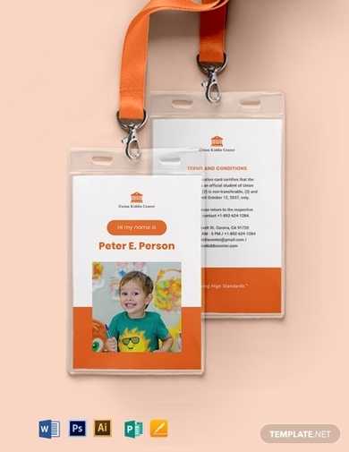 child kid school id card