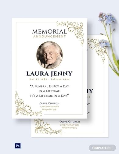 church memorial announcement invitation