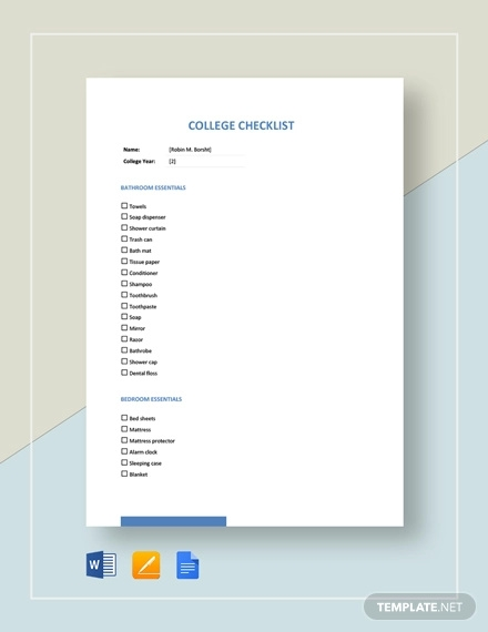 college checklist template