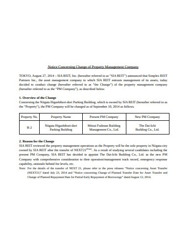 company property management notice example