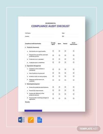 compliance audit checklist template
