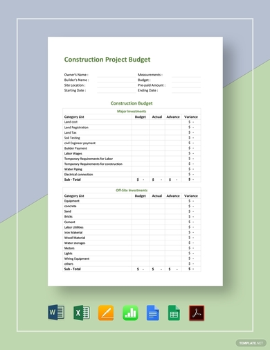 construction project budget