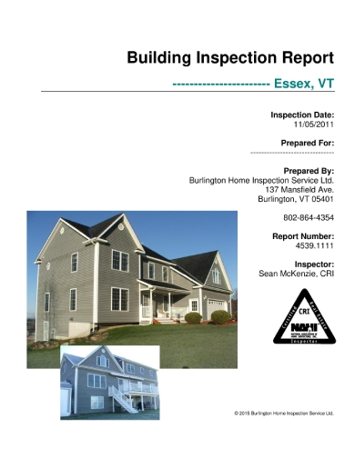 contemporary building inspection report