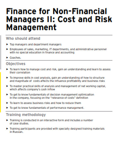 cost and risk finance for non financial managers