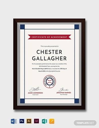creative baseball award certificate