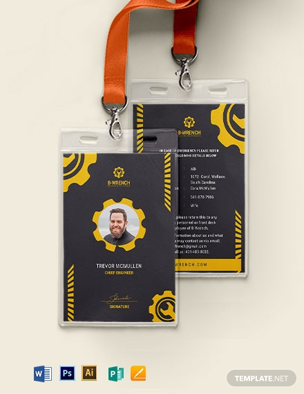creative building maintenance service id card