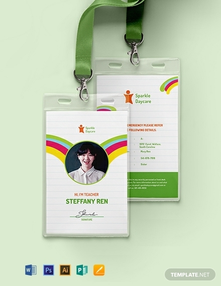 creative daycare teacher id card