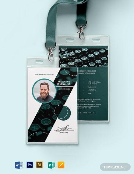 creative freelance journalist id card