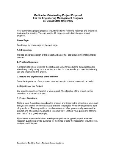 culminating project proposal outline for engineering program