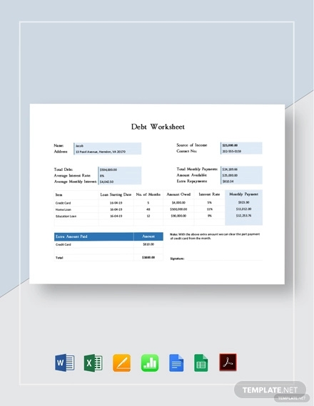 debt worksheet template