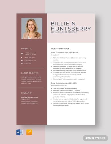 dental chairside assistant resume