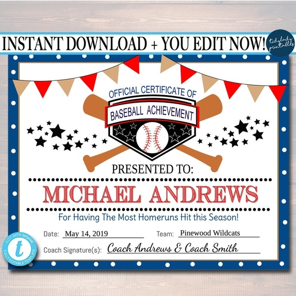 editable baseball award certificates