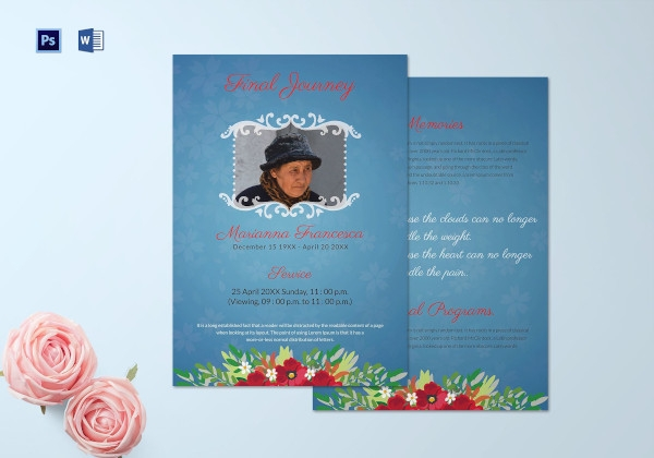 editable funeral memorial service program