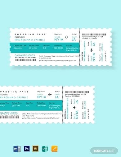 elegant airline ticket