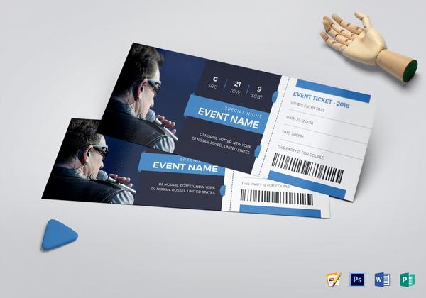 elegant event ticket