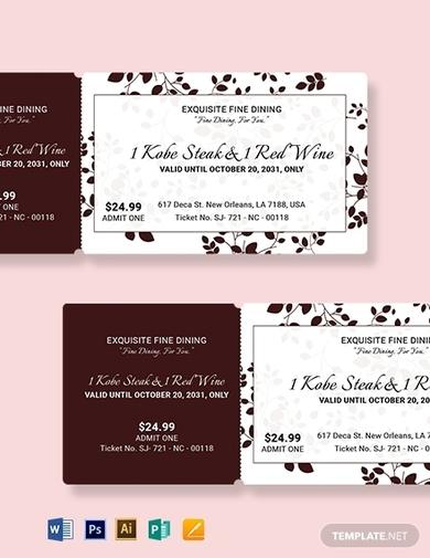 elegant food ticket template