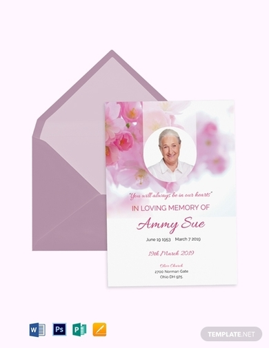elegant funeral obituary program invitation