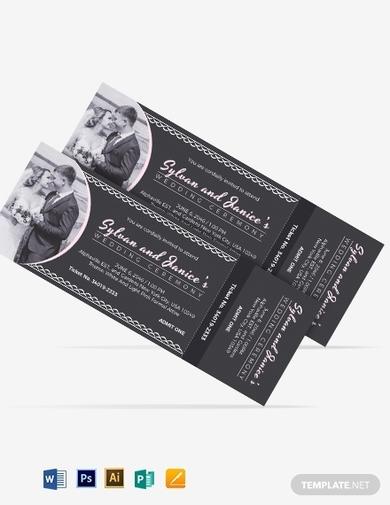 elegant wedding ticket