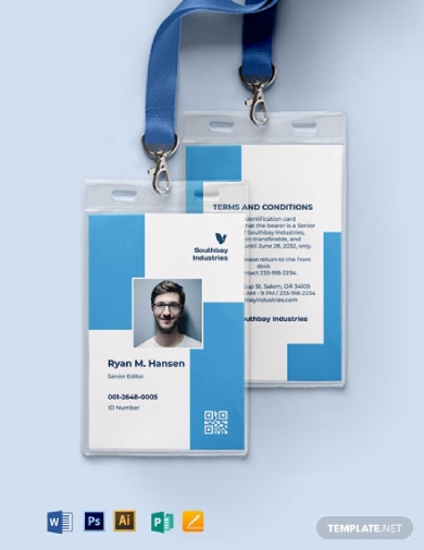 employee id card portrait format