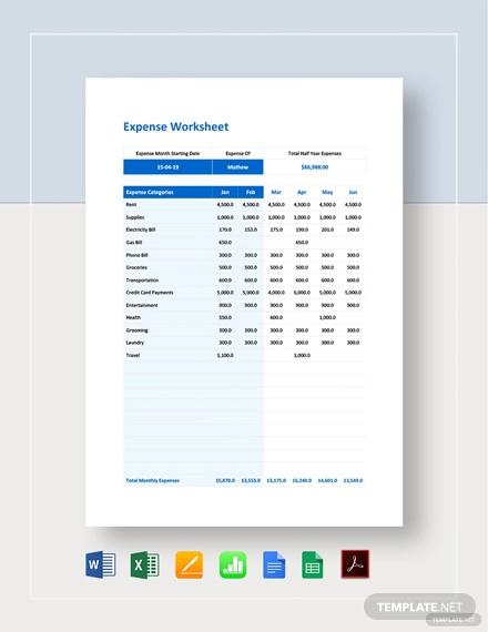 expense worksheet template2