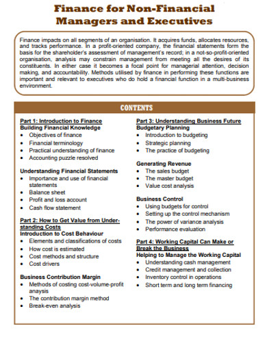 finance for non financial managers and excutives